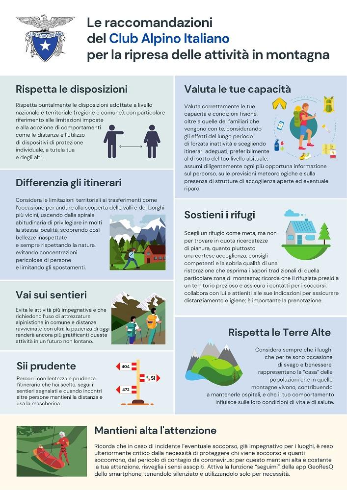 Le raccomandazioni del Club alpino italiano per la ripresa delle attività in montagna