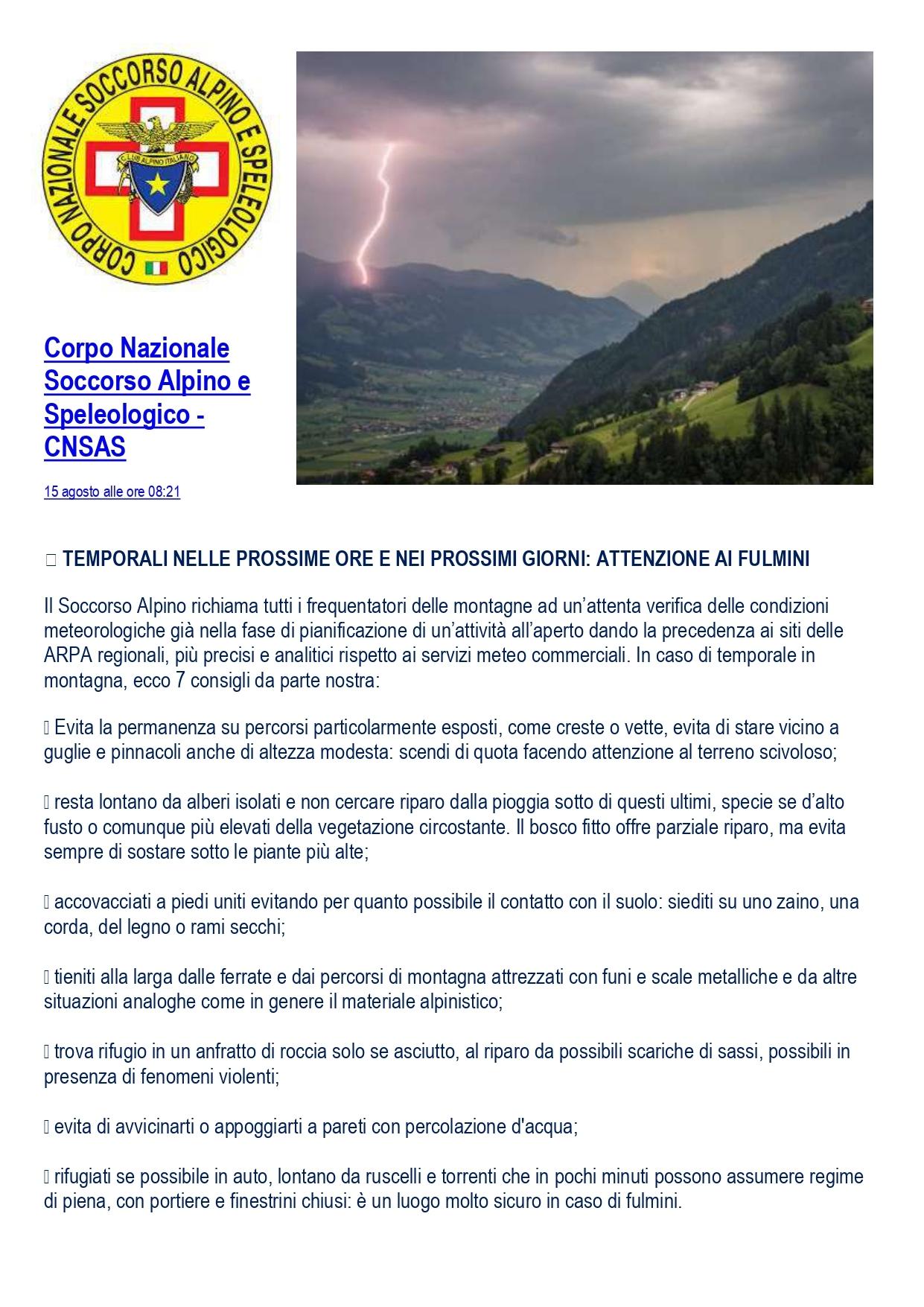Temporali nelle prossime ore e nei prossimi giorni: Attenzione ai fulmini (Corpo Nazionale Soccorso Alpino e Speleologico – CNSAS)